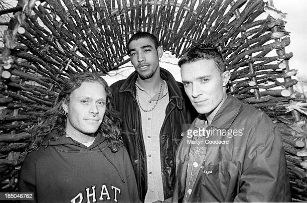 The Prodigy group portrait in Essex including band members Liam Howlett Keith Flint and Leroy Thornhill United Kingdom 1992
