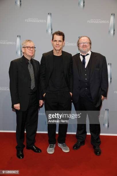 The producers of 'Babylon Berlin' Gebhard Henke Tom Tykwer and Stefan Arndt attend the German Television Award at Palladium on January 26 2018 in...
