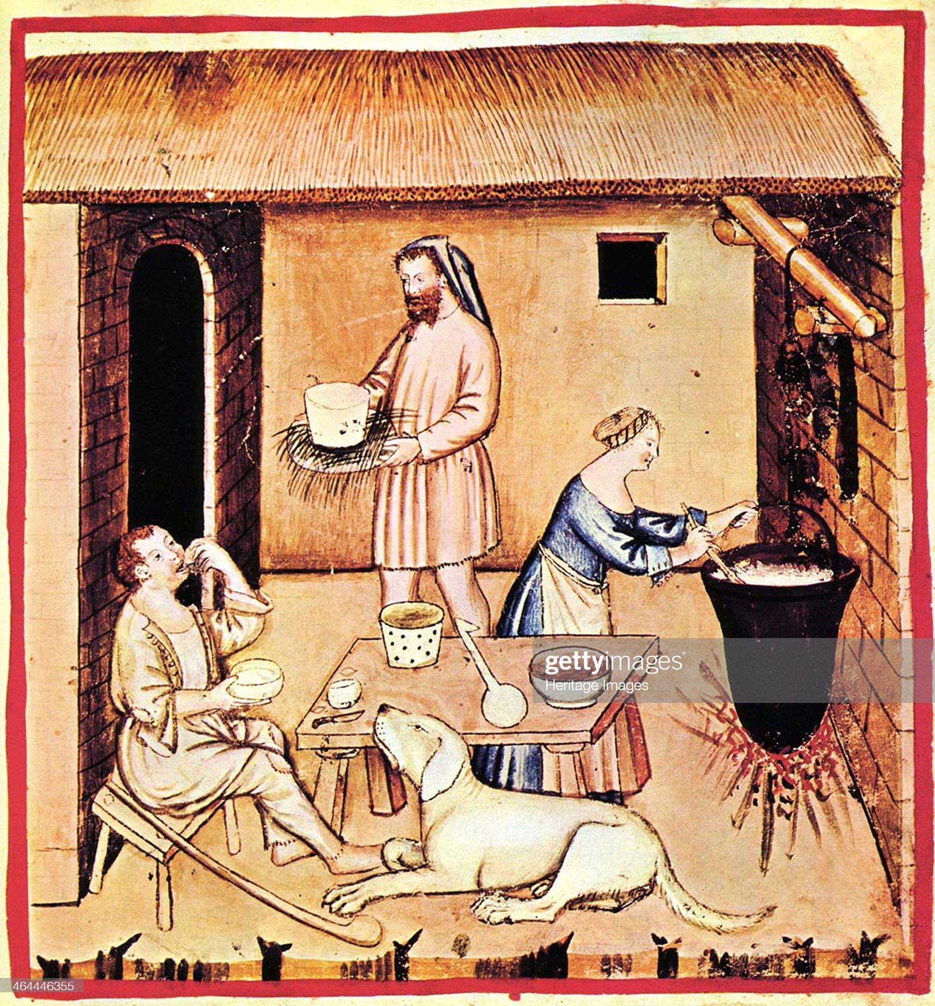 The production of cheese. A miniature from Tacuinum Sanitatis, Second Half of 14th cen.. Artist: Anonymous : Foto di attualità