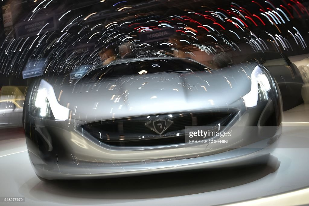 The production version of the Rimac Concept One electric car is displayed at the stand of Croatian carmaker during the press day of the Geneva Motor Show on March 2, 2016 in Geneva. / AFP / FABRICE