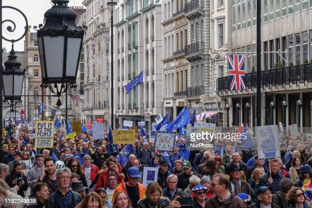 The proEU protesters make their way theou London on 23 March 2019 Thousands of protesters gathered in central London today to take part in the Put It...