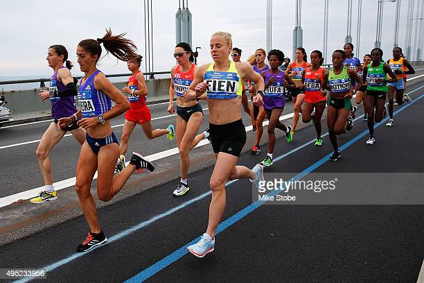 The Professional Women division of runners cross the VerrazanoNarrows Bridge at the start of the TCS New York City Marathon on November 1 2015 in New...
