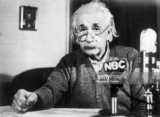 The professor Albert EINSTEIN giving an antiH bomb speech for the National Broadcasting Company on February 15 at Princeton University