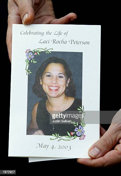 The program for the memorial service for Laci Peterson and her unborn son Connor shows a smiling image of Lacy May 4 2003 in Modesto California About...