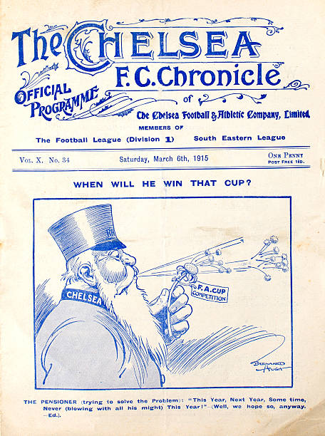 The programme cover for the Chelsea v Newcastle United FA Cup 6th round tie, featuring a Chelsea Pensioner trying to work out when his team might win...