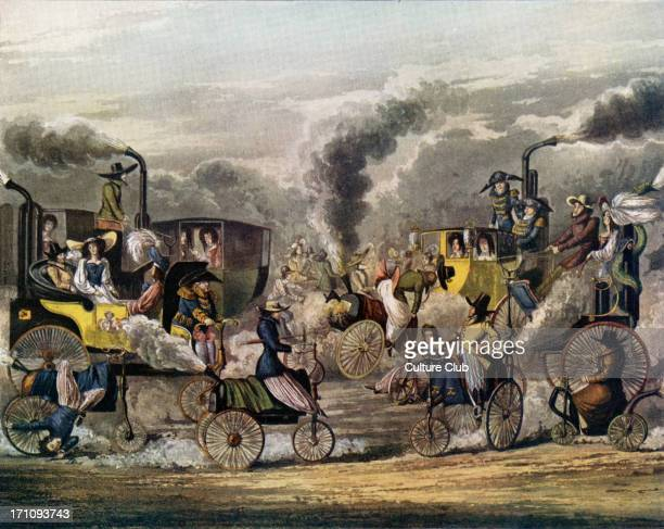 English scene showing early steam carriages being driven in Regent Park with passengers dated 1831 Industrial revolution engine industrialisation...
