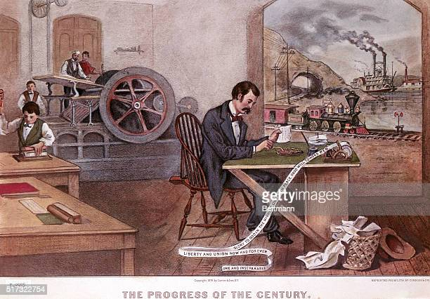'The progress of the century' Printing press telegraph railroad steam engine Lithograph by Currier and Ives 1876