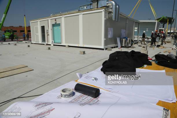 The project drawings are displayed in the building site of the new Covid-19 section of the hospital Ospedale del Mare in Ponticelli distict. In Italy...