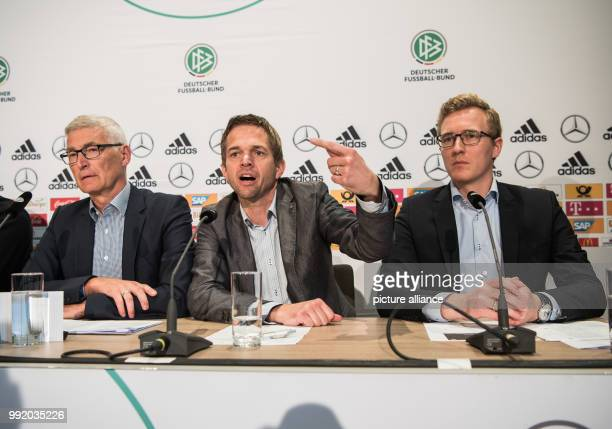 The project leader 'video proof' of the German Football Association Lutz Michael Froehlich former Bundesliga referee and video assistant Jochen Drees...
