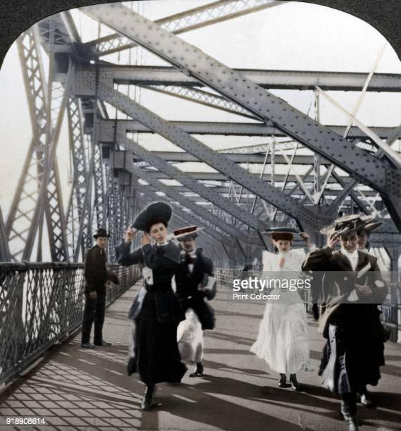 The promenade Williamsburg Bridge New York USA The Williamsburg Bridge over the East River had the longest suspension bridge span in the world when...