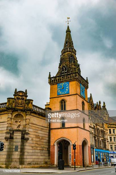 the prominent merchant city clock tower, historical landmark of glasgow, scotland (uk) - old glasgow stock pictures, royalty-free photos & images