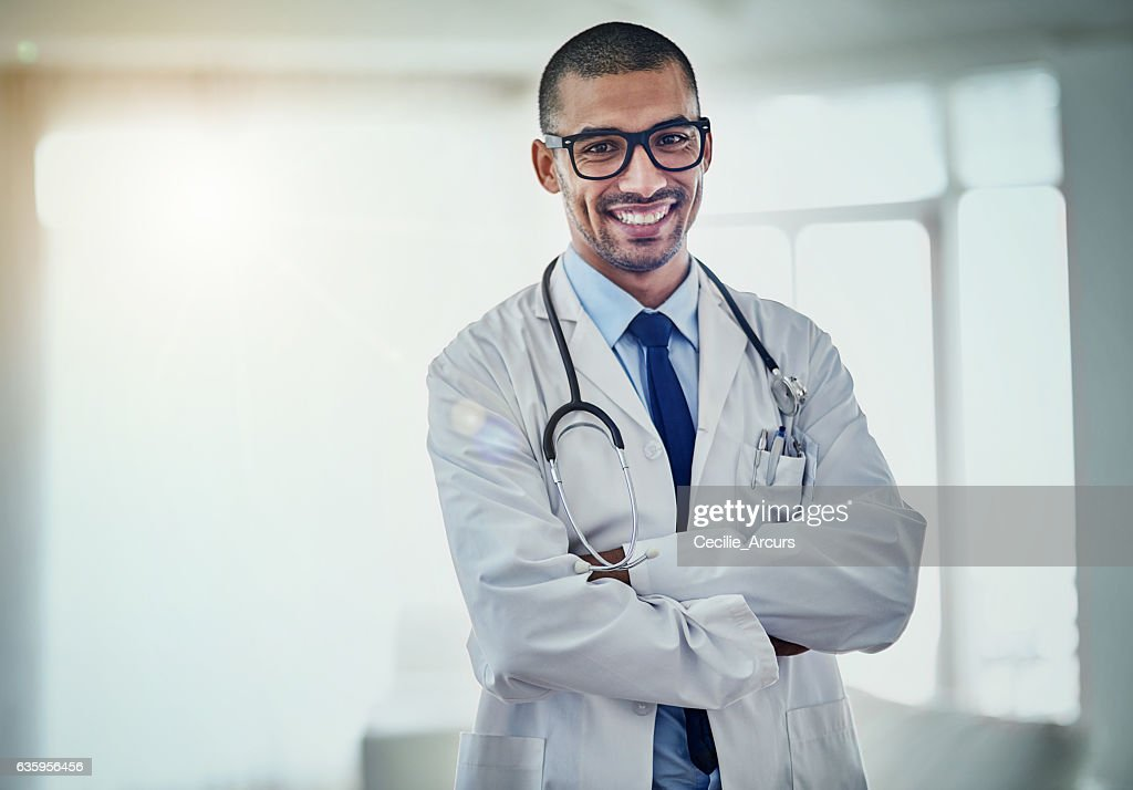 The promise of good health starts with a great doctor : Foto de stock