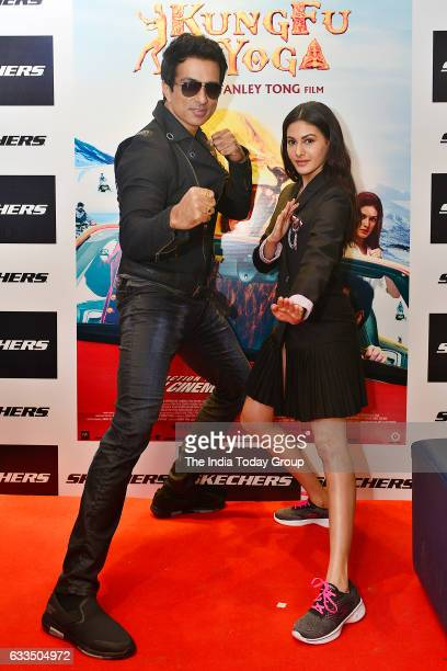 The promotion of upcoming film Kung Fu Yoga actors Sonu Sood and Amyra Dastur in Noida Uttar Pradesh