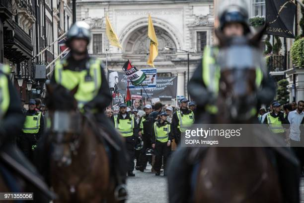 The propalestine demonstration being lead by a heavy police presence Hundreds of antiIsrael protesters marched through the streets on the annual Al...