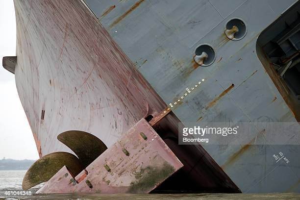 The propeller and rudder of the Hoegh Osaka ro-ro cargo ship