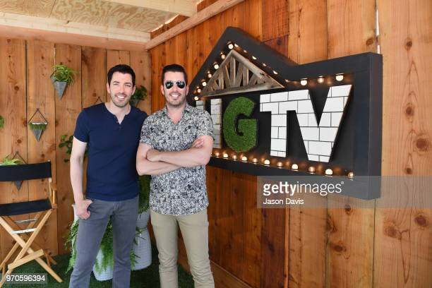 The Property Brothers Drew Scott and Jonathan Scott attend the HGTV Lodge at CMA Music Fest on June 9 2018 in Nashville Tennessee