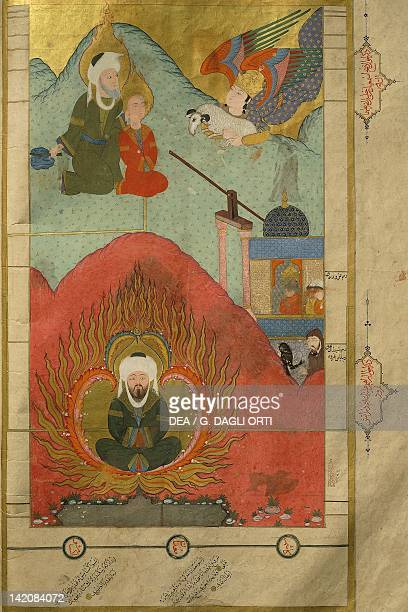 The Prophet Abraham preparing to sacrifice his son King Nimrod casting Abraham into the fire miniature from The tales of Luqman Arabic manuscript 1583