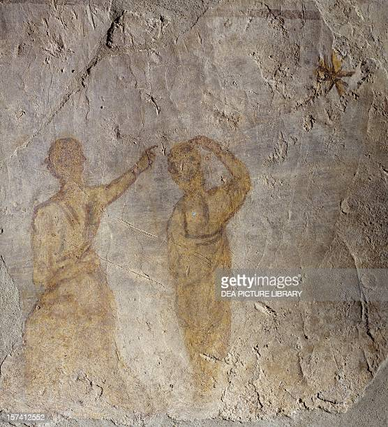 The prophet Balaam utters the fourth prophecy to Balak King of Moab mid4th century fresco 70 x 68 cm Catacombs of St Tecla Rome Italy 4th century