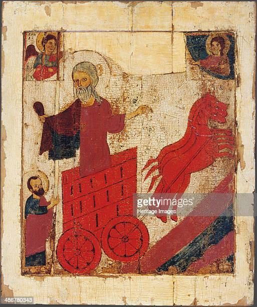 The Prophet Elijah and the Fiery Chariot 13th century Artist Russian icon