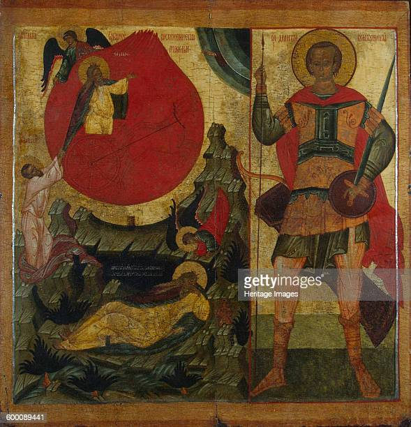 The Prophet Elijah and the Fiery Chariot Saint Demetrius of Thessaloniki Mid of 16th century Found in the collection of State Hermitage St Petersburg...