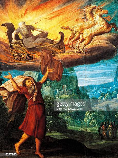 The prophet Elijah ascending into heaven on the fiery chariot 16th century by an unknown Flemish artist
