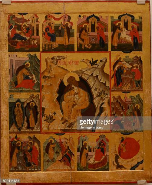 The Prophet Elijah in the Wilderness with Scenes from His Life 16th century Found in the collection of State A Radishchev Art Museum Saratov