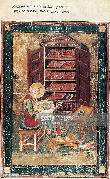The prophet Ezra's intention of drafting the New Bible miniature from the Amiatinus Code 8th Century
