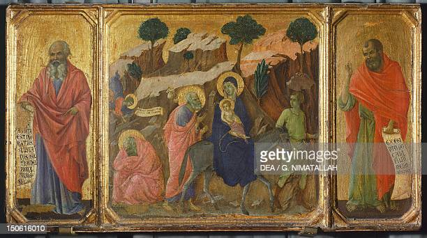 The Prophet Jeremiah the flight into Egypt and the Prophet Hosea detail from the predella of the Maesta of Duccio Altarpiece in the Cathedral of...