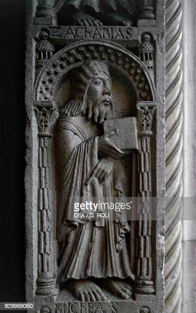 The prophet Zachariah detail from the tiles of the Prophets marble basrelief by Wiligelmus doorposts at the main entrance Metropolitan Cathedral of...