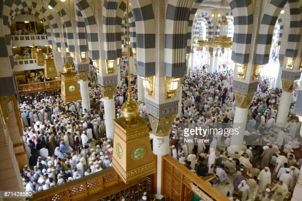 the prophet's mosque, medina, saudi arabia. - al masjid al nabawi stock photos and pictures