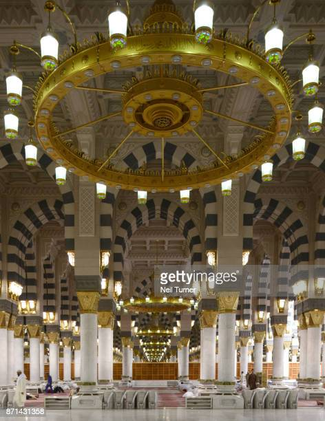 the prophet's mosque, medina, saudi arabia. - al masjid al nabawi stock pictures, royalty-free photos & images
