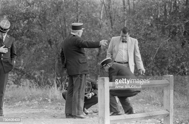 The prosecutor and police at the crime scene near Docelles in the French department of Vosges after the murder of four yearold Grégory Villemin The...