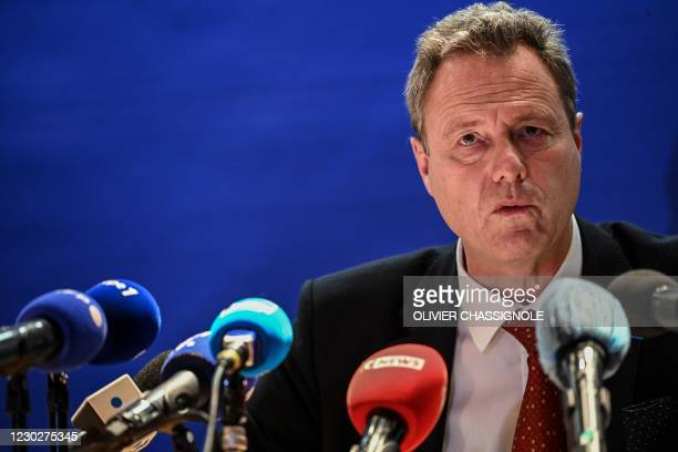 The prosecutor of the republic of Clermont-Ferrand, Eric Maillaud, gives a press conference, at the Clermont-Ferrand's courthouse, on December 23,...