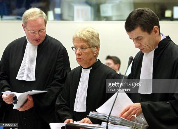 The prosecutors Dirk Ryneveld, Carla del Ponte and Geoffrey Nice during the second day of trial of former Yugoslavian strongman Slobodan Milosevic at...