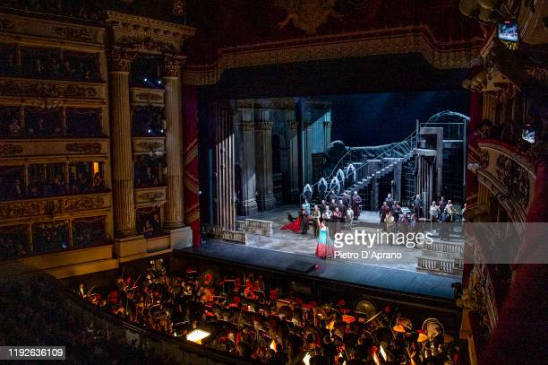 The protagonist Anna Netrebko and the cast of the opera La Tosca during the final applauses the Prima Alla Scala at Teatro Alla Scala on December 07...