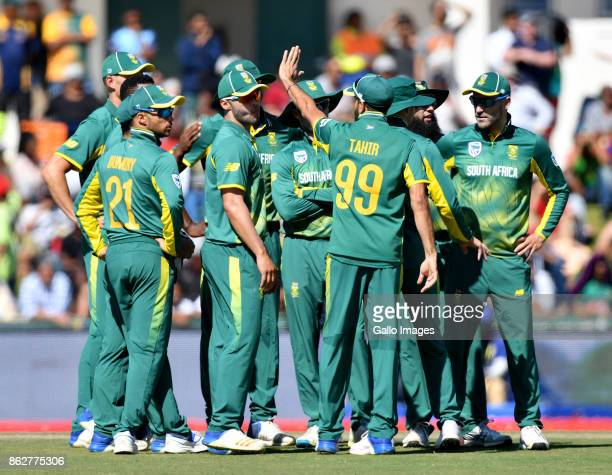 The Proteas celebrate during the 2nd Momentum ODI match between South Africa and Bangladesh at Boland Park on October 18 2017 in Paarl South Africa