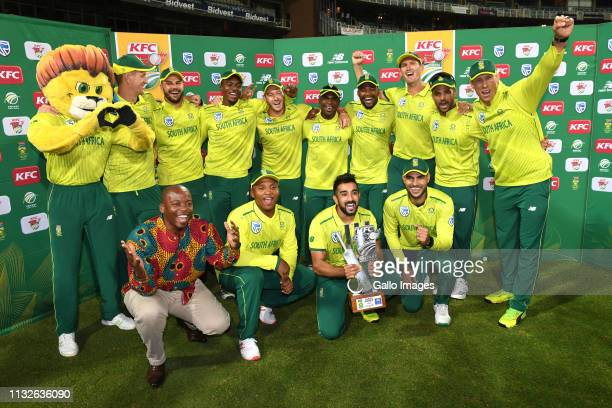 The Proteas celebrate their win after the 3rd KFC T20 International match between South Africa and Sri Lanka at Bidvest Wanderers Stadium on March 24...