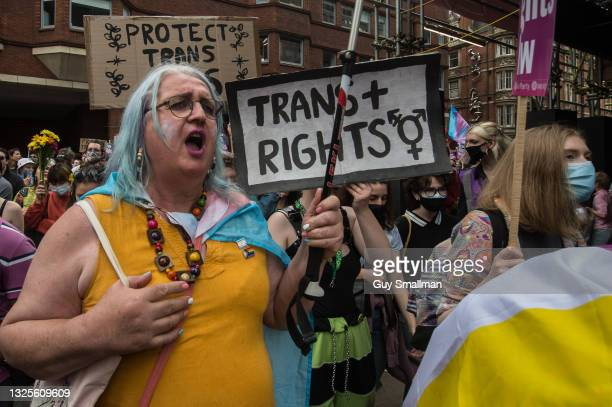 The protest arrives in Soho as thousands attend the third Trans Pride march on June 26, 2021 in London, England.
