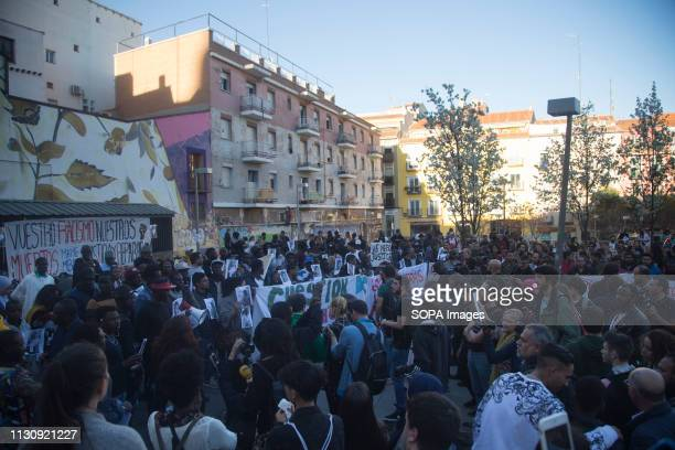The protest in Nelson Mandela Plaza de Lavapies Protest against institutional racism took place at Nelson Mandela square one year after the death of...