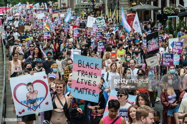 The protest proceeds down Piccadilly as thousands attend the third Trans Pride march on June 26, 2021 in London, England.
