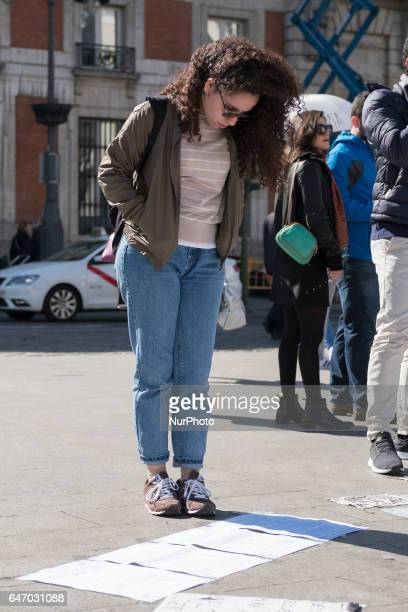 the protesters chant against genderbased violence at their protest camp in La Puerta del Sol square in Madrid Spain on 1 March 2017 Eight women...