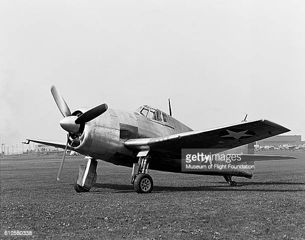 The prototype Grumman XF6F3 Fighter sits on the airfield of Bethpage Naval Air Station on Long Island New York in 1942
