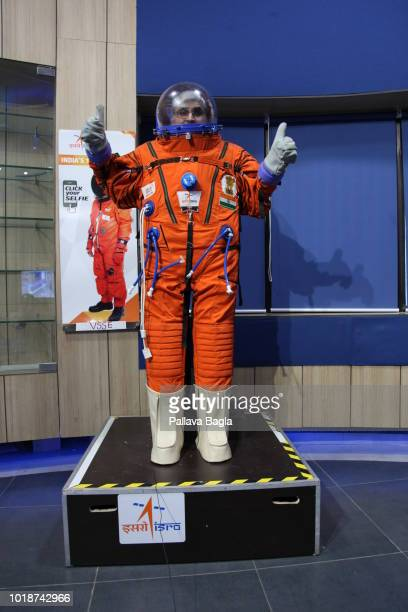 AUGUST 14 2018 The prototype Indian made space suit being displayed on August 14 2018 at the Space Applications Center in Ahmedabad The Indian space...