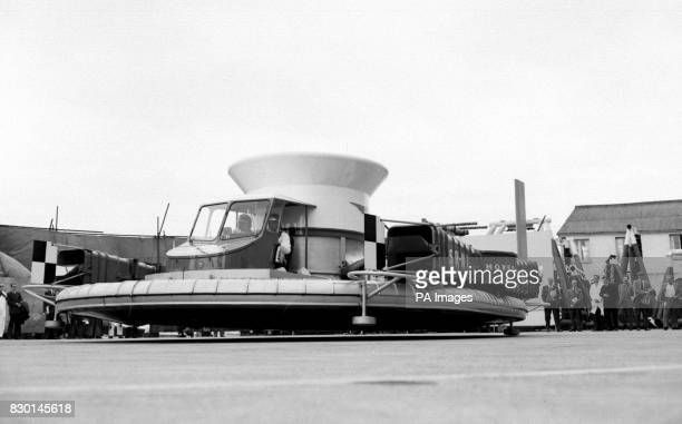 The prototype of the allBritish SR N1 hovercraft designed by Christopher S Cockerell and made by Saunders Roe during a demonstration at Cowes on the...