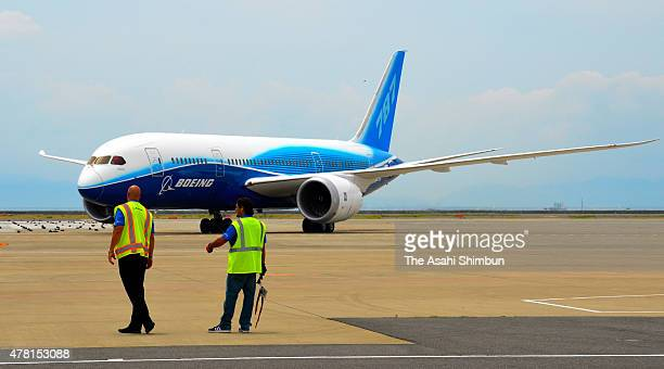 The prototype of the Boeing 787 Dreamliner is seen after its final flight to its roots at Chubu Centrair International Airport on June 22 2015 in...