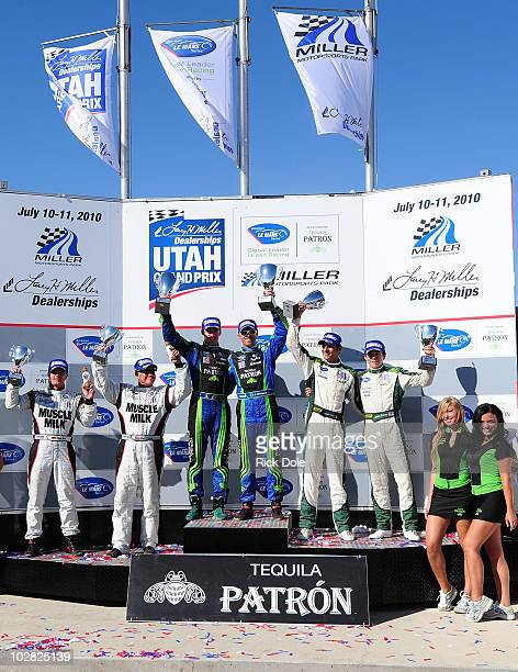 The prototype podium 3rd place drivers Klaus Graf of Germany and Greg Pickett of the United States in the Muscle Milk Team Cytosport Porsche RS...