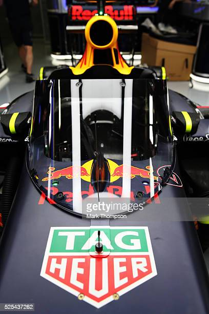 The prototype Red Bull Racing aeroscreen mounted on the Red Bull Racing Red BullTAG Heuer RB12 TAG Heuer in the garage during previews ahead of the...