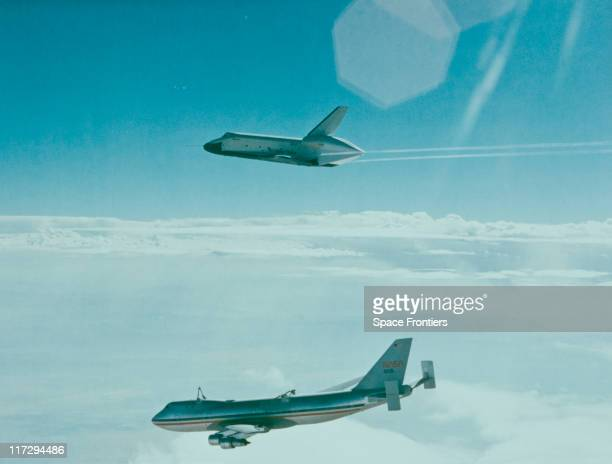 The prototype Space Shuttle Enterprise separates from the Boeing 747 Shuttle Carrier Aircraft during the first free flight of the Shuttle Apporach...