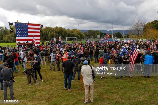 The Proud Boys a rightwing proTrump group gather with their allies in a rally called âEnd Domestic Terrorismâ against Antifa in Portland Oregon on...