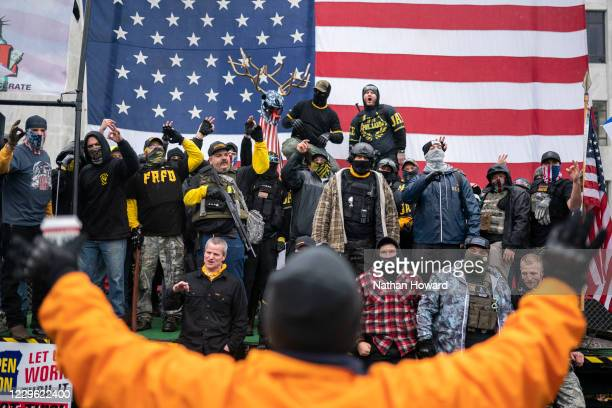 The Proud Boys chant disparaging remarks about antifa during a Defeat the Steal rally on November 14, 2020 in Salem, Oregon. Protesters gathered...
